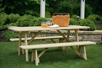 Outdoor Furniture - Wood 3'x6' Picnic Table w. 66 Benches