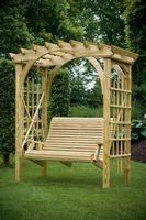 Outdoor Furniture - Wood 3'x6' Roman Arch Arbor w. Swing