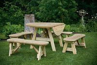 Outdoor Furniture - Wood 4' Drop Leaf Table w. Curved Benches