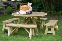 Outdoor Furniture - Wood 54 Round Table w. Curved Benches