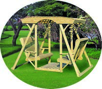 Outdoor Furniture - Wood Rollback Lattice-Top Double Lawn Swing