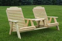 Outdoor Furniture - Wood Traditional Chairs Angled Tete-a-Tete