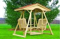 Outdoor Furniture - Wood Traditional Double Lawn Swing w. Cedar Shingles