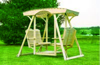 Outdoor Furniture - Wood Traditional Lattice-Top Double Lawn Swing