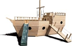 Wooden Playground Equipment - Large Boat