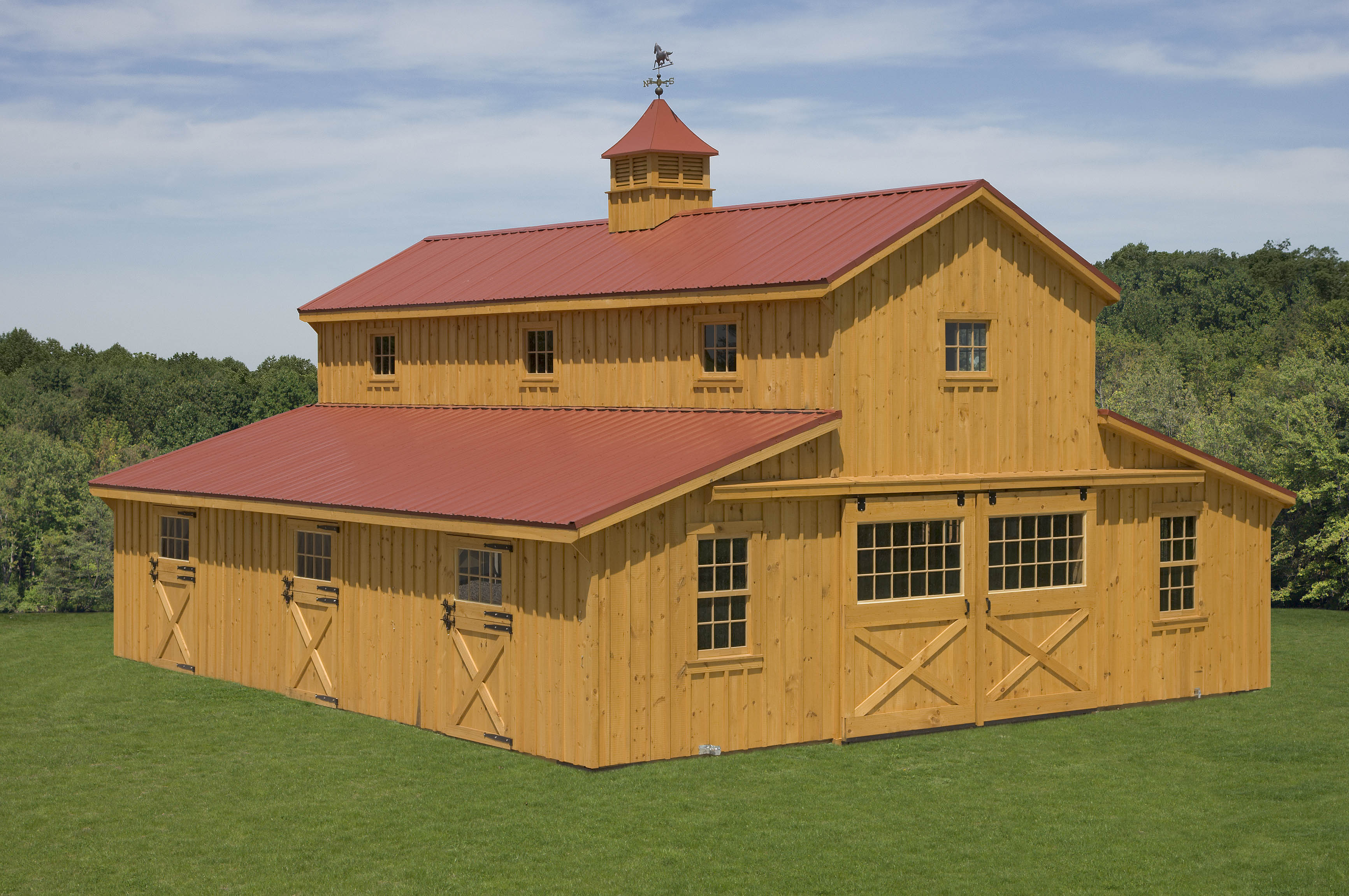 36x36 natural stain monitor barn custom barns and for Sheds and buildings