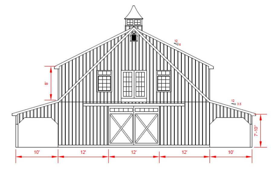 36x72 High Country Barn - Rear Elevation