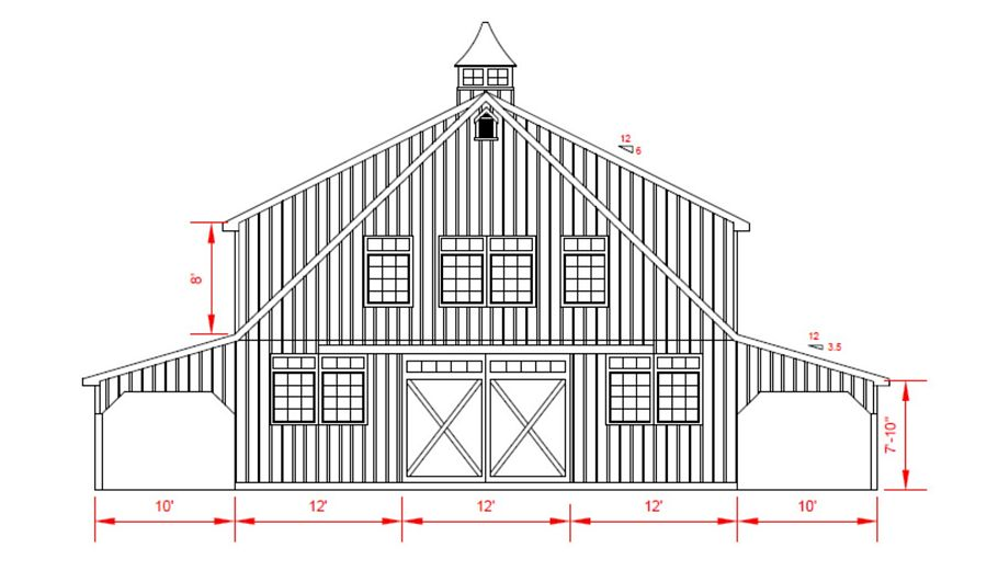 36x72 High Country Barn Front Elevation