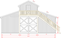36x72 Monitor Barn - Front Elevation
