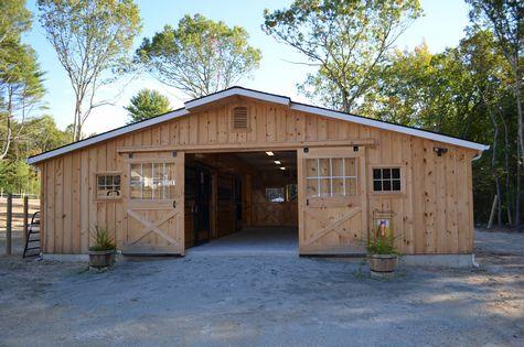 Modular Horse Barn - Low Profile Trailside Modular Horse Barn - 36 x 52