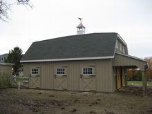 Modular Horse Barn - Gambrel Hip Roof Modular Horse Barn - 30 x 30