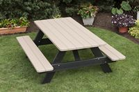 Outdoor Furniture - 3'x6' Attached Bench Table Poly