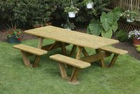 Outdoor Furniture - Wood 3'x7' Attached Split Bench Table