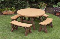 Outdoor Furniture - 4' Round 5 Piece Poly Table