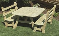 Outdoor Furniture - Wood 4'x5' Oval 3 Piece Set
