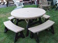 Outdoor Furniture - Poly 5' Round Table 5 Piece Set