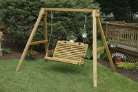 Outdoor Furniture - Wood A-Frame & 4' High Back Swing