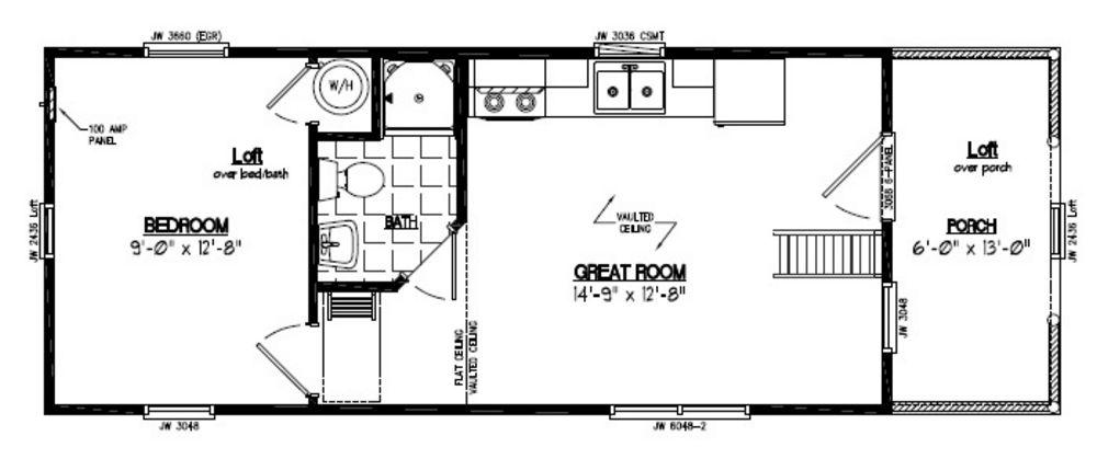13x36 Adirondack Recreational Floor Plan 13AR802