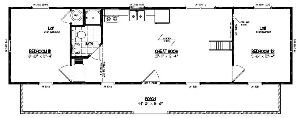 Recreational cabins recreational cabin floor plans for 16 x 48 house plans