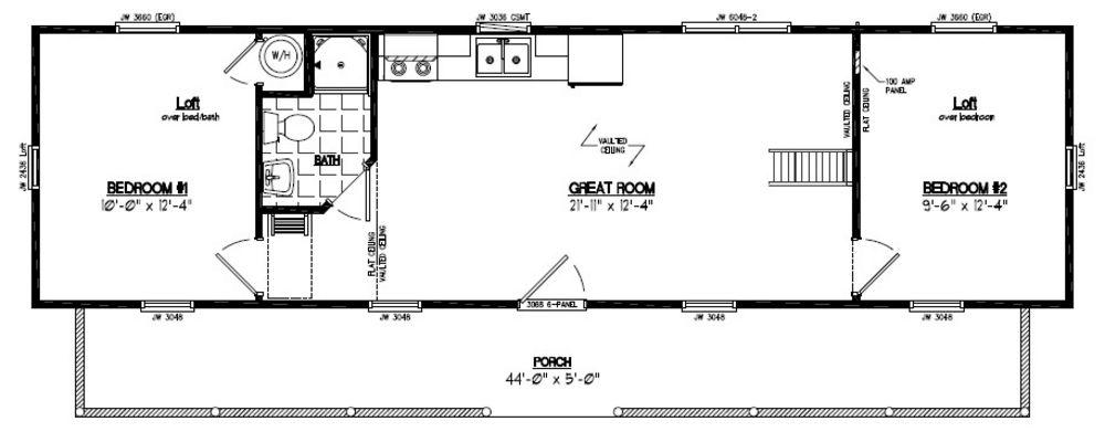 Recreational Cabins | Recreational Cabin Floor Plans on 16 x 44 floor plan, 28 x 52 floor plan, 24 x 28 floor plan, 28 x 44 garage, 26 x 44 floor plan, 18 x 44 floor plan,