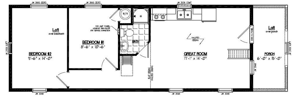 15x48 adirondack certified floor plan 15ar804 custom for Adirondack floor plans