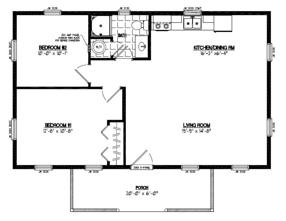 22x36 Poineer Certified Floor Plan 22pr1202 Custom