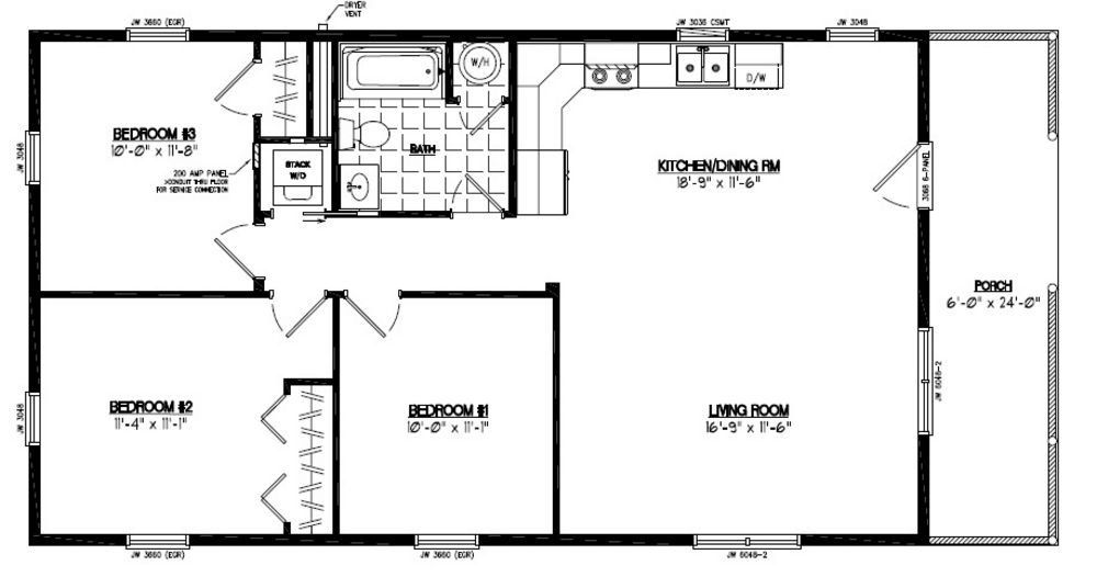 24x48 Settler Certified Floor Plan 24sr505 Custom Barns