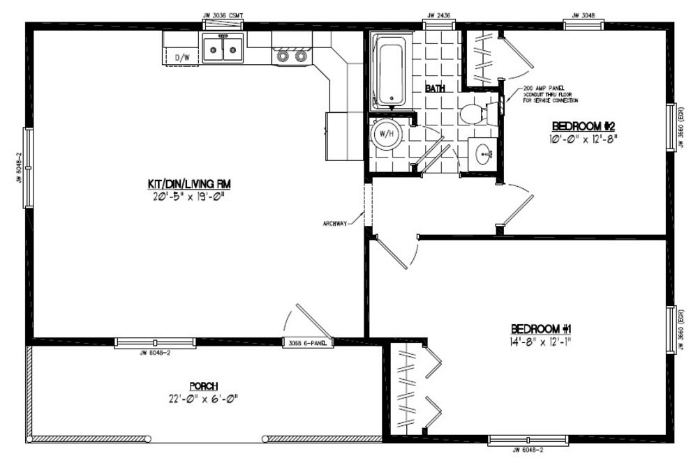 Homes floor plans 24 x 40 for Home plan search