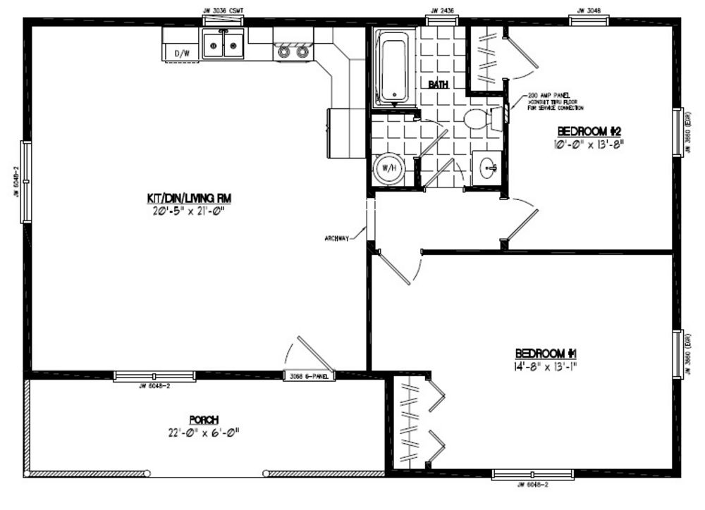 28x40 Frontier Certified Floor Plan 28fr602 Custom