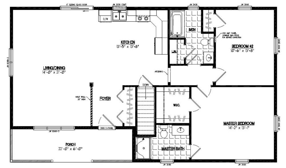 28x48 Frontier Floor Plan #28FR605