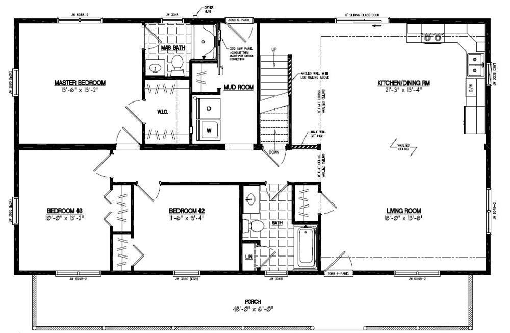 Certified homes mountaineer deluxe certified home floor for 28x48 floor plans