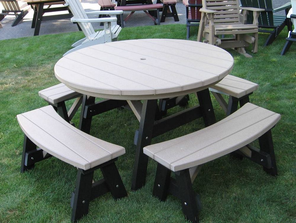 ... Outdoor Furniture - Poly 5' Round Table 5 Piece Set ... - Outdoor Furniture Classic Outdoor Furniture Heavy Duty Outdoor