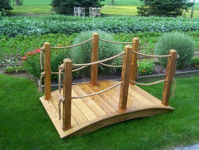 Backyard Rope Bridge 6' wooden rope bridge (2) - custom barns and buildings - the