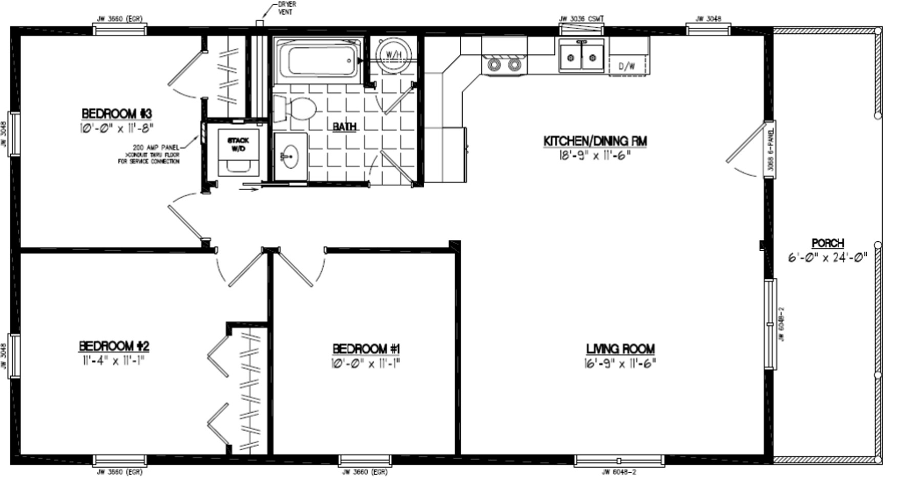 Certified homes settler certified home floor plans for 16 x 48 house plans