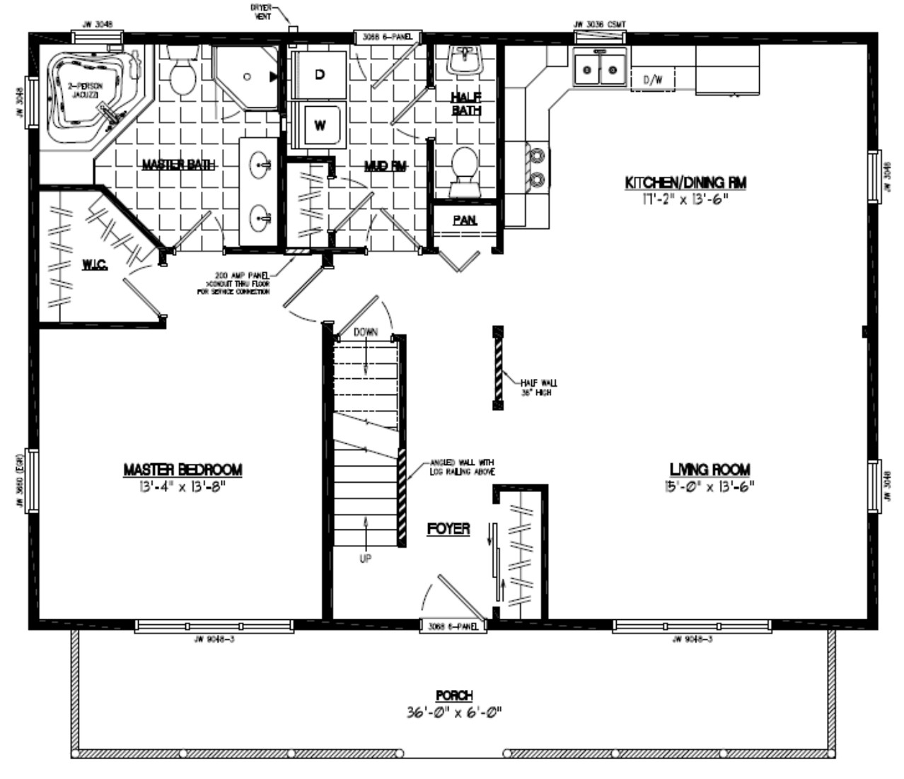30 x 36 house plans for 28x36 cabin plans