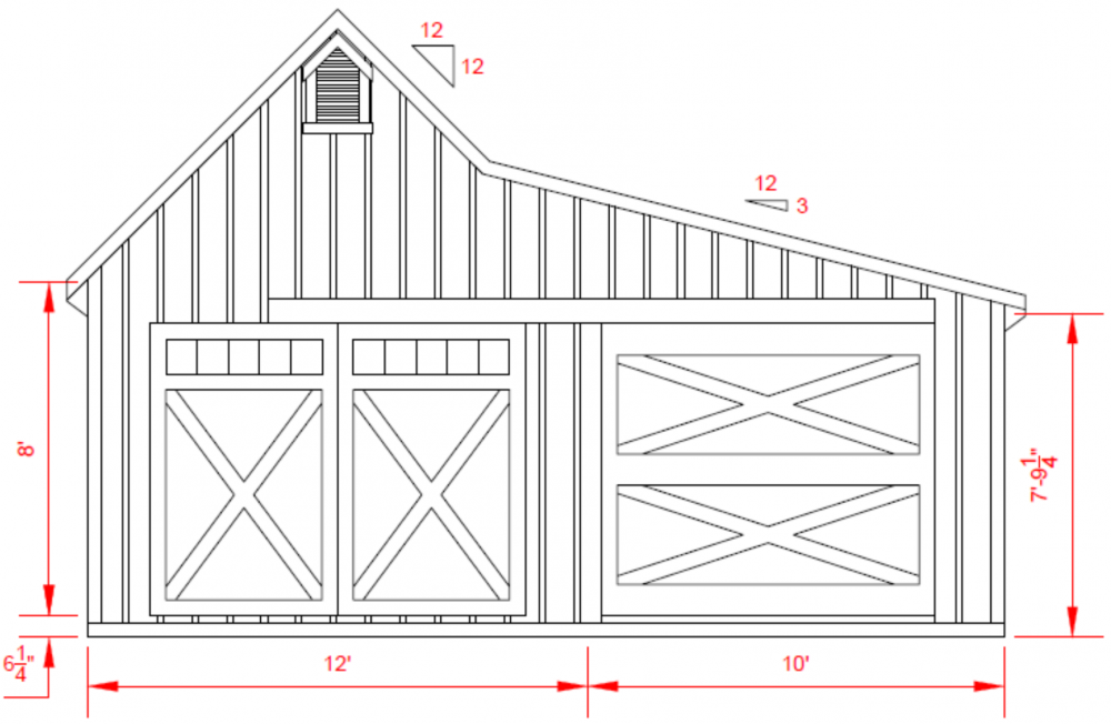 12'x26' White River Garage - Front Elevation