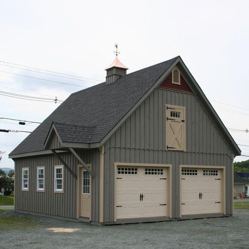 Modular two car garages custom barns and buildings the for Modular 3 car garage